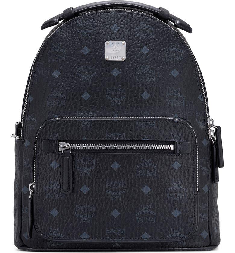 MCM Stark 32 Visetos Coated Canvas Backpack, Main, color, BLACK