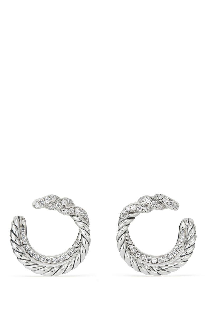 DAVID YURMAN Continuance Hoop Earrings with Diamonds, Main, color, SILVER/ DIAMOND