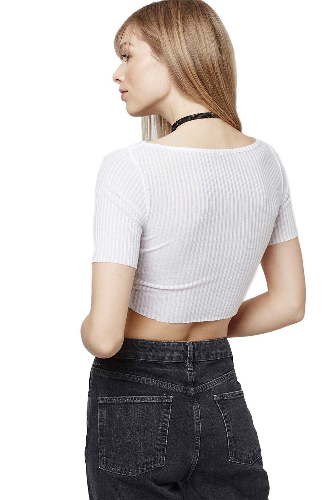 ,                             Raw Edge Crop Tee,                             Alternate thumbnail 16, color,                             100