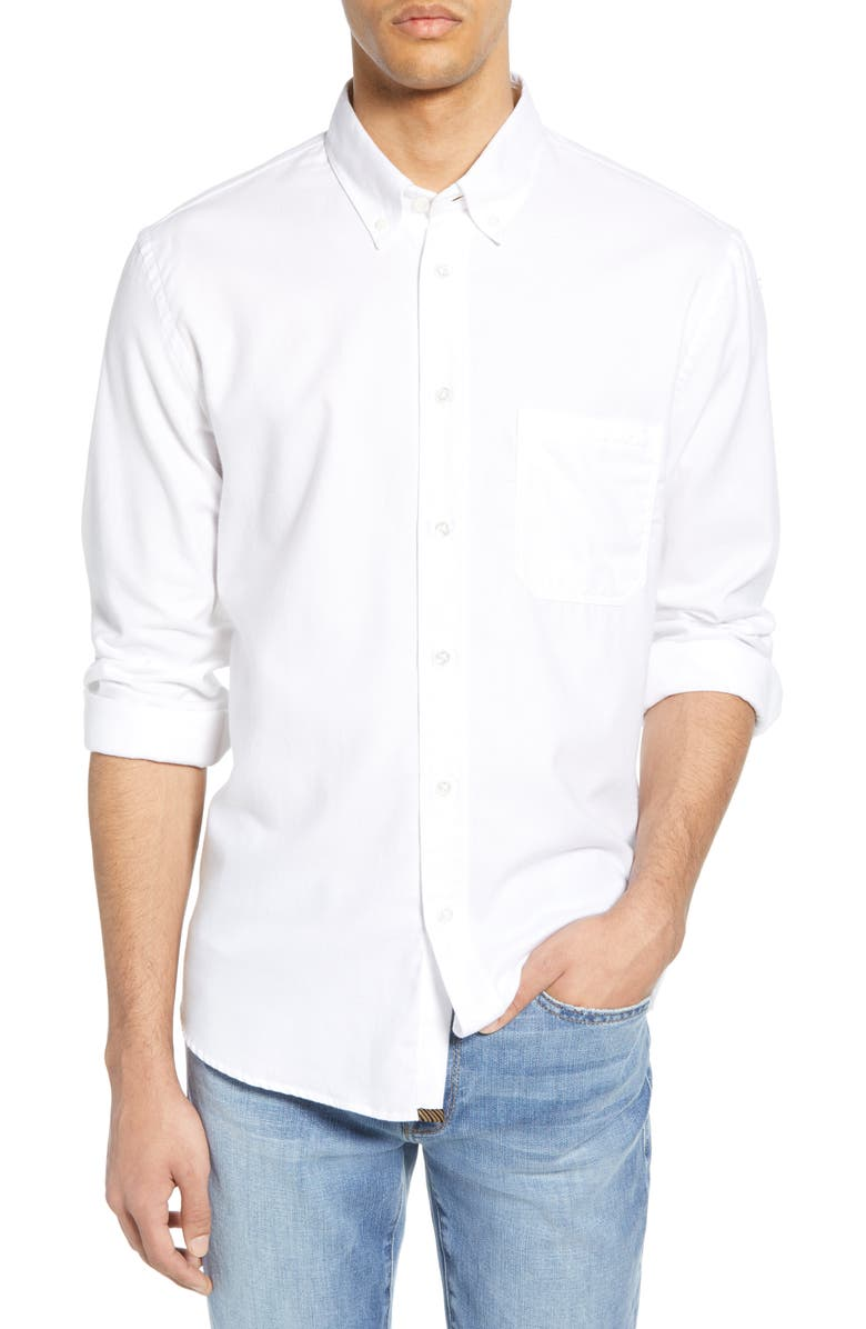 BILLY REID Tuscumbia Standard Fit Cotton & Cashmere Shirt, Main, color, WHITE