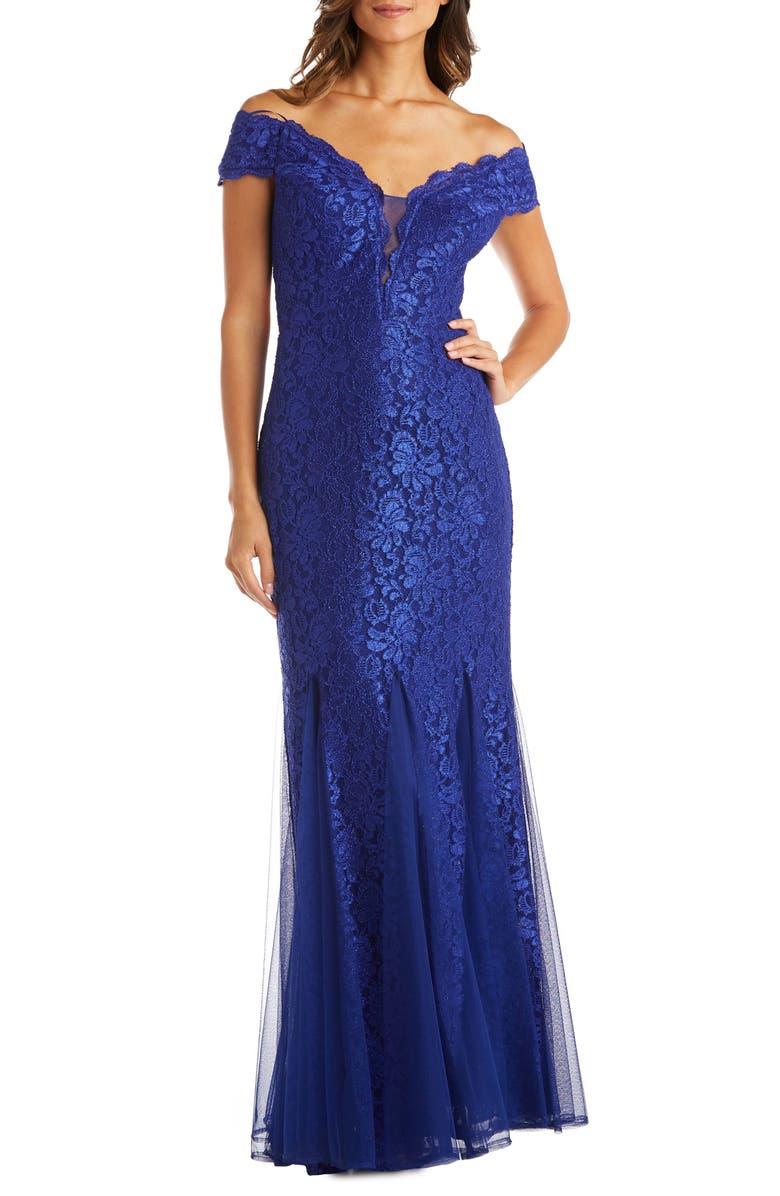 MORGAN & CO. Lace Off the Shoulder Trumpet Gown, Main, color, 430