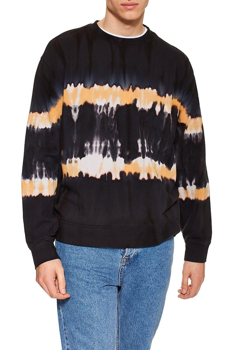 TOPMAN Tie Dye Sweatshirt, Main, color, CHARCOAL MULTI