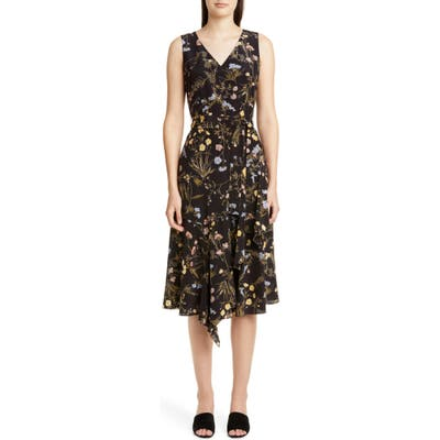 Lafayette 148 New York Floral Print Silk Dress, Black