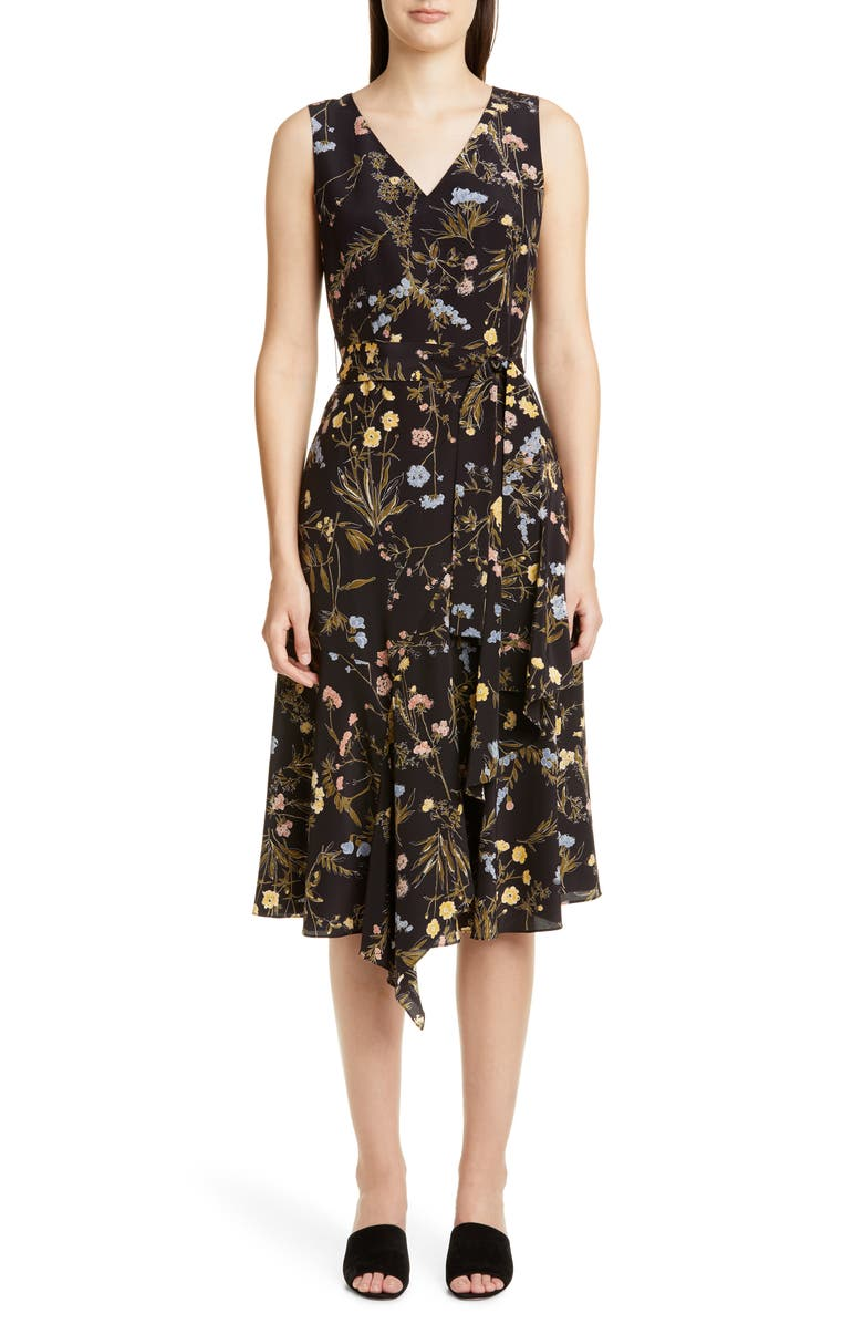 LAFAYETTE 148 NEW YORK Floral Print Silk Dress, Main, color, BLACK MULTI