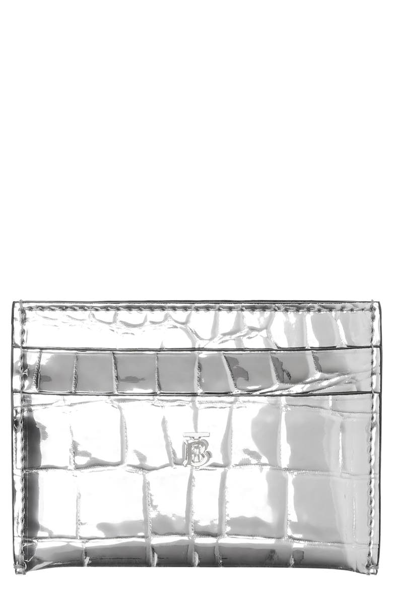 BURBERRY Sandon Metallic Croc Embossed Faux Leather Card Holder, Main, color, SILVER