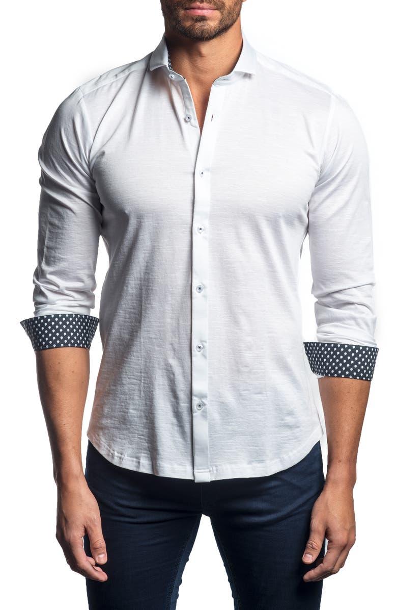 JARED LANG Slim Fit Button-Up Sport Shirt, Main, color, 100