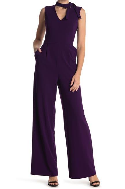 Image of Calvin Klein Tie Neck Sleeveless Jumpsuit