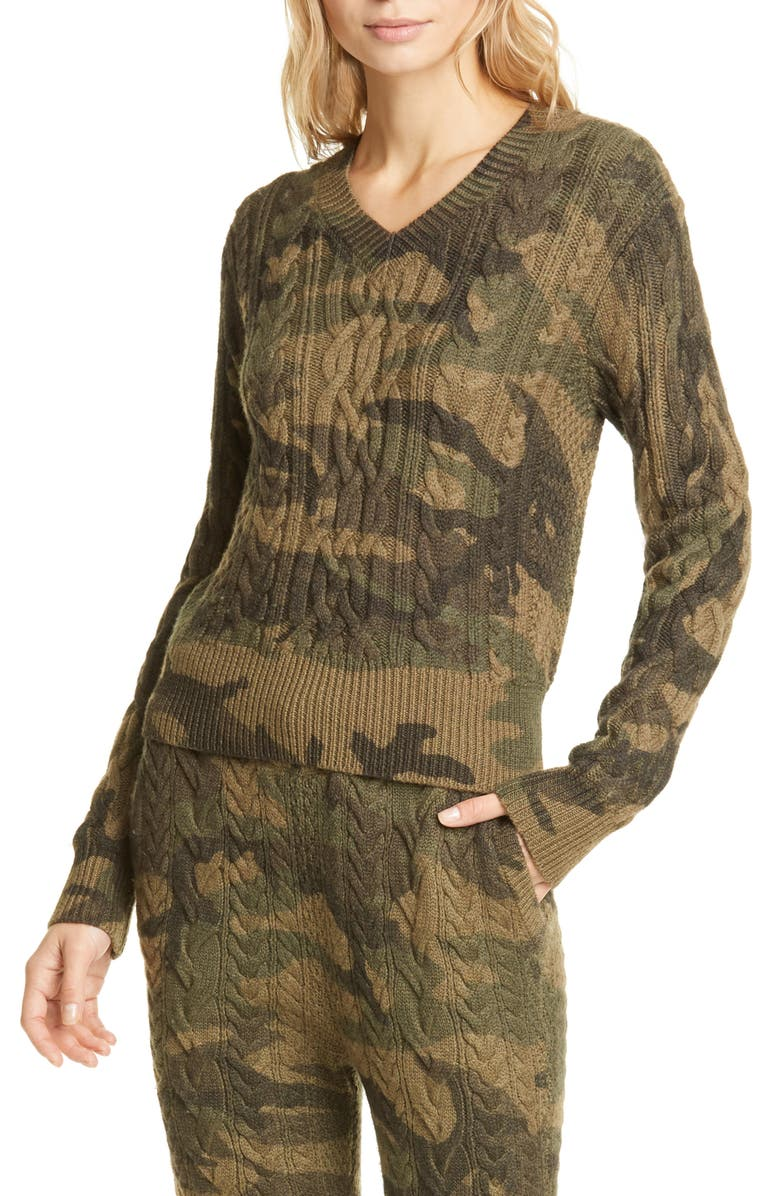 POLO RALPH LAUREN V-Neck Cable Wool Blend Sweater, Main, color, CAMO