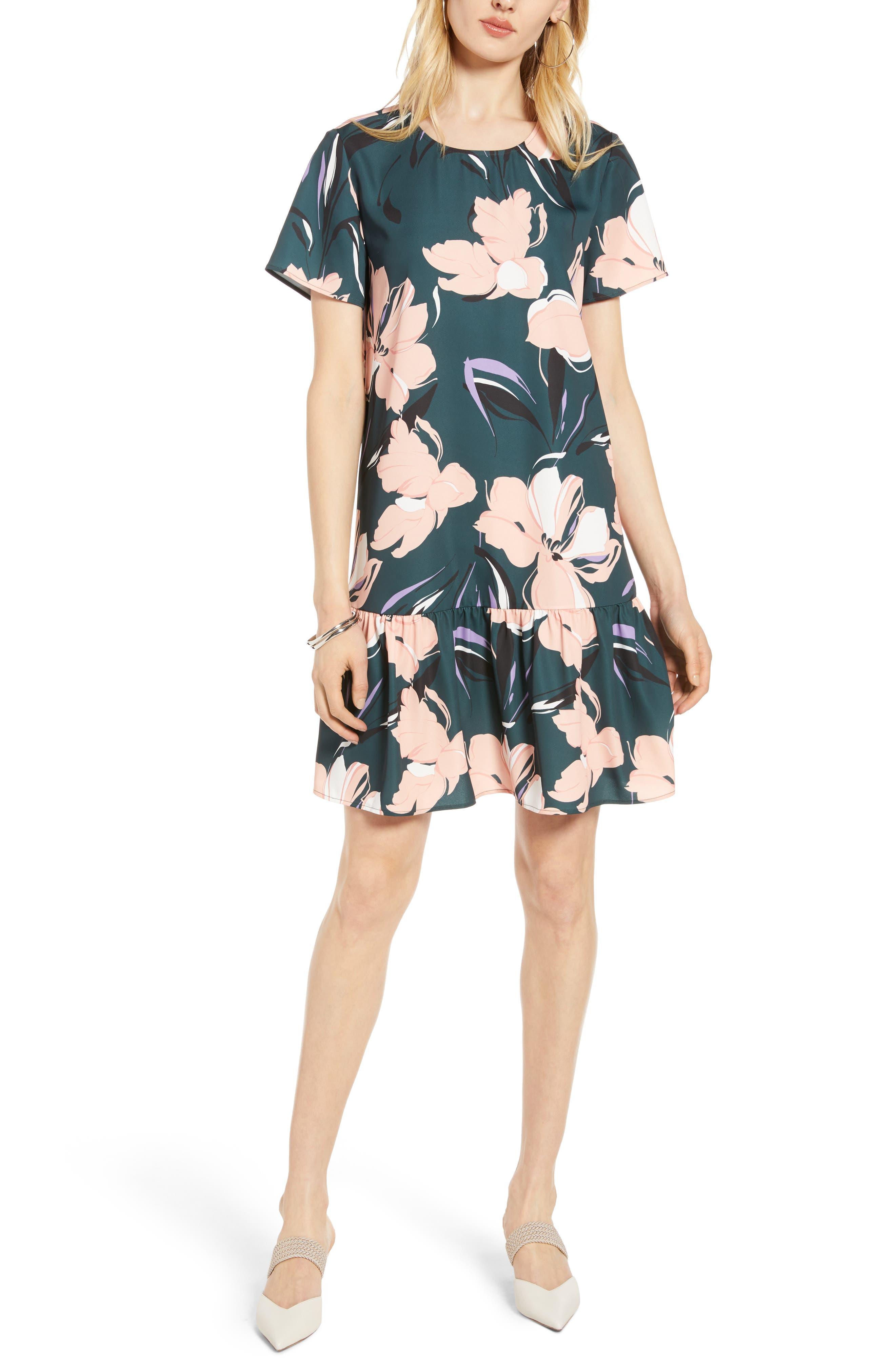 Halogen® Short Sleeve Ruffle Hem Dress (Regular & Petite)
