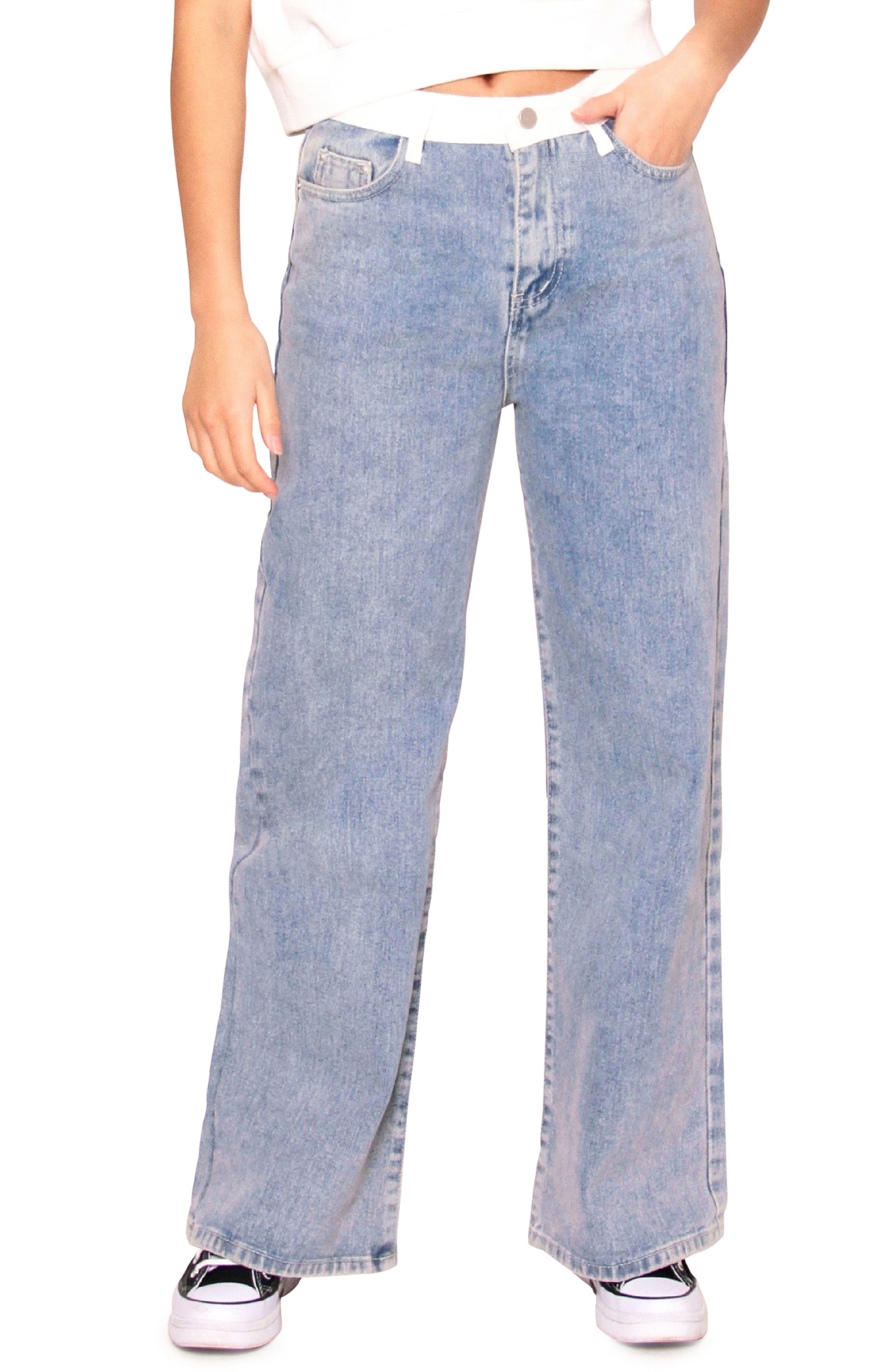 Rosa Contrast Detail Wide Leg Jeans