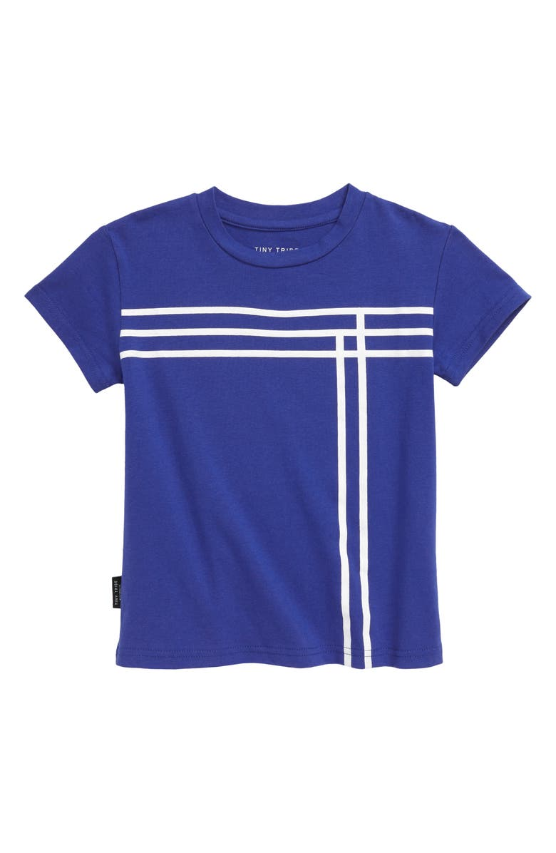 TINY TRIBE Blue Lines T-Shirt, Main, color, BLUE