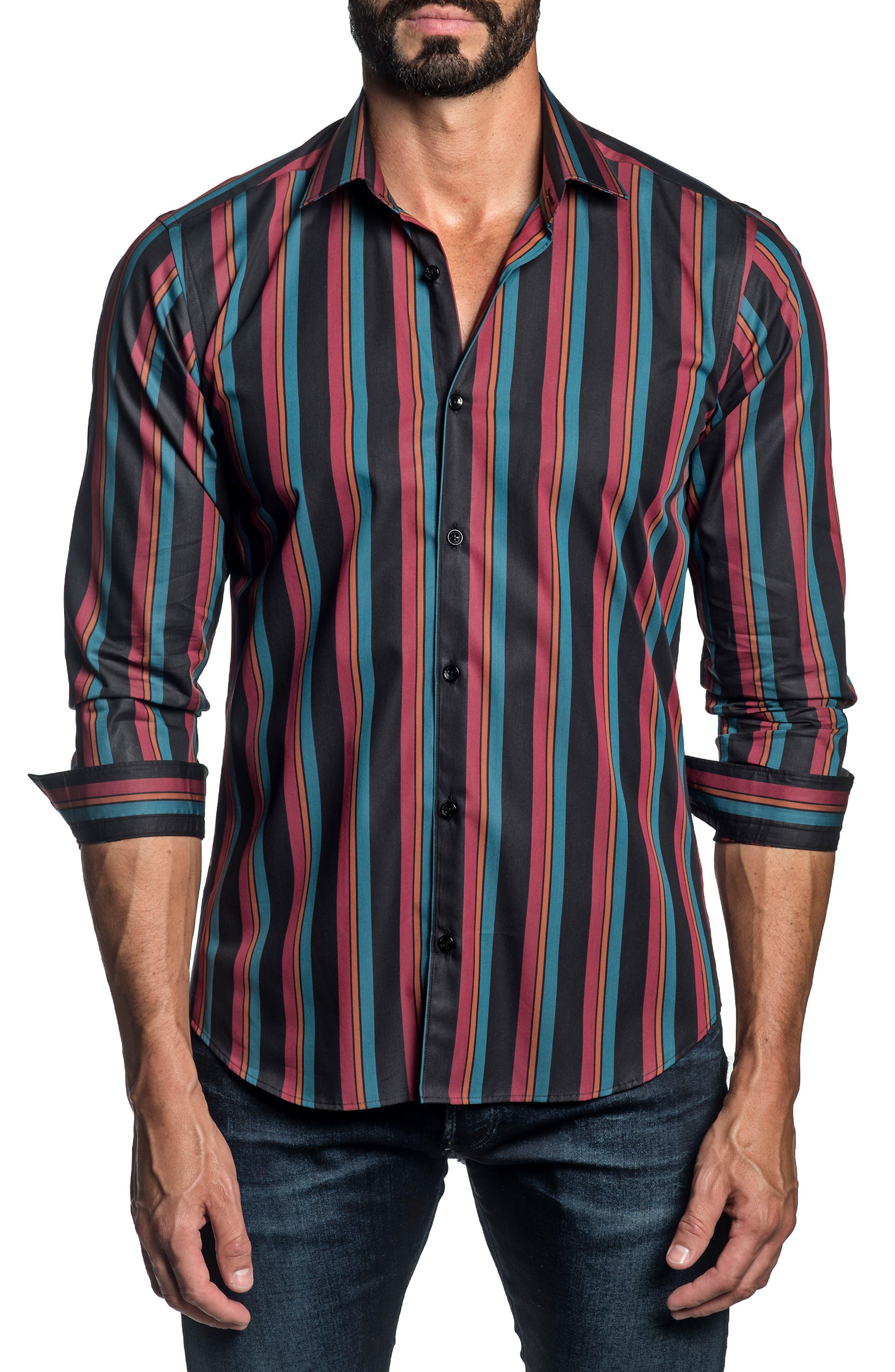 Stripe Cotton Button-Up Shirt