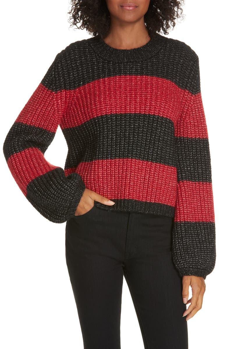 LA LIGNE Colorblock Balloon Sleeve Crop Sweater, Main, color, BLACK / RED