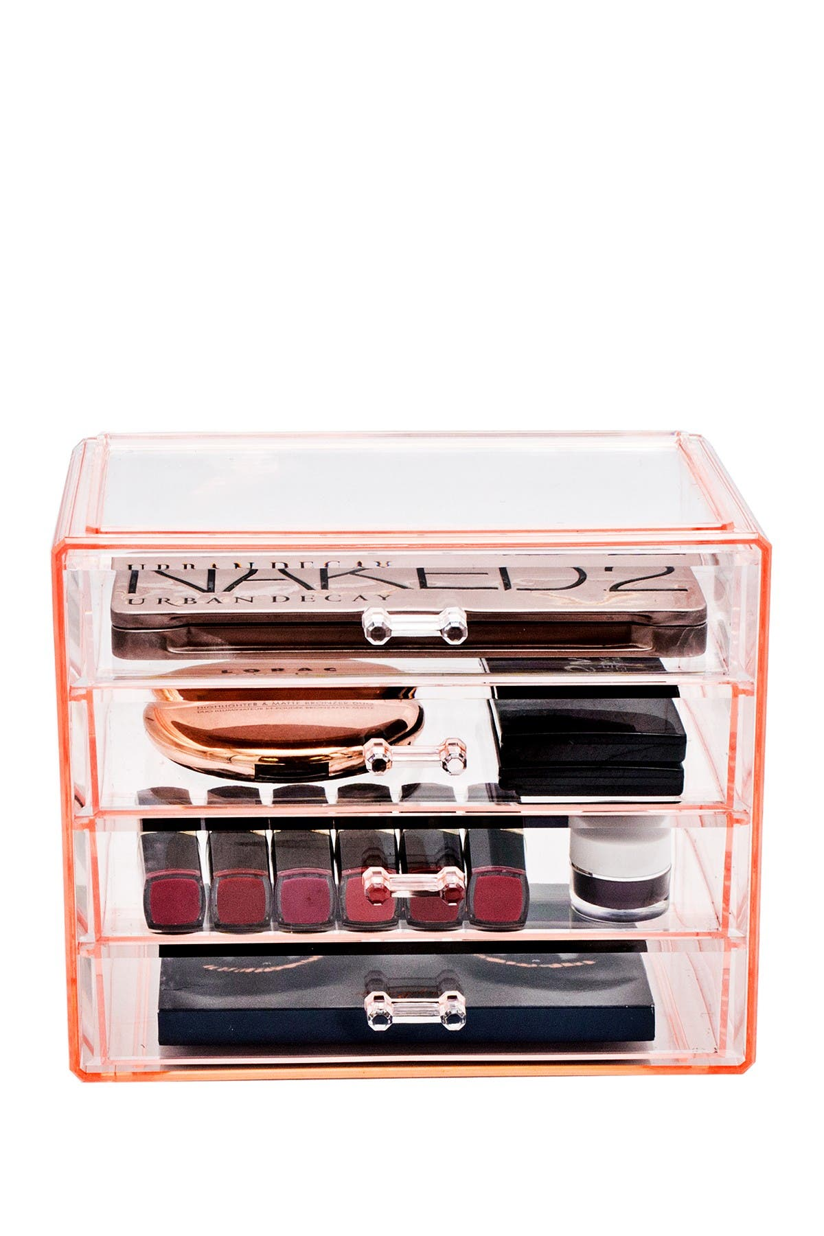 Image of Sorbus Pink Makeup & Jewelry Storage Case Display