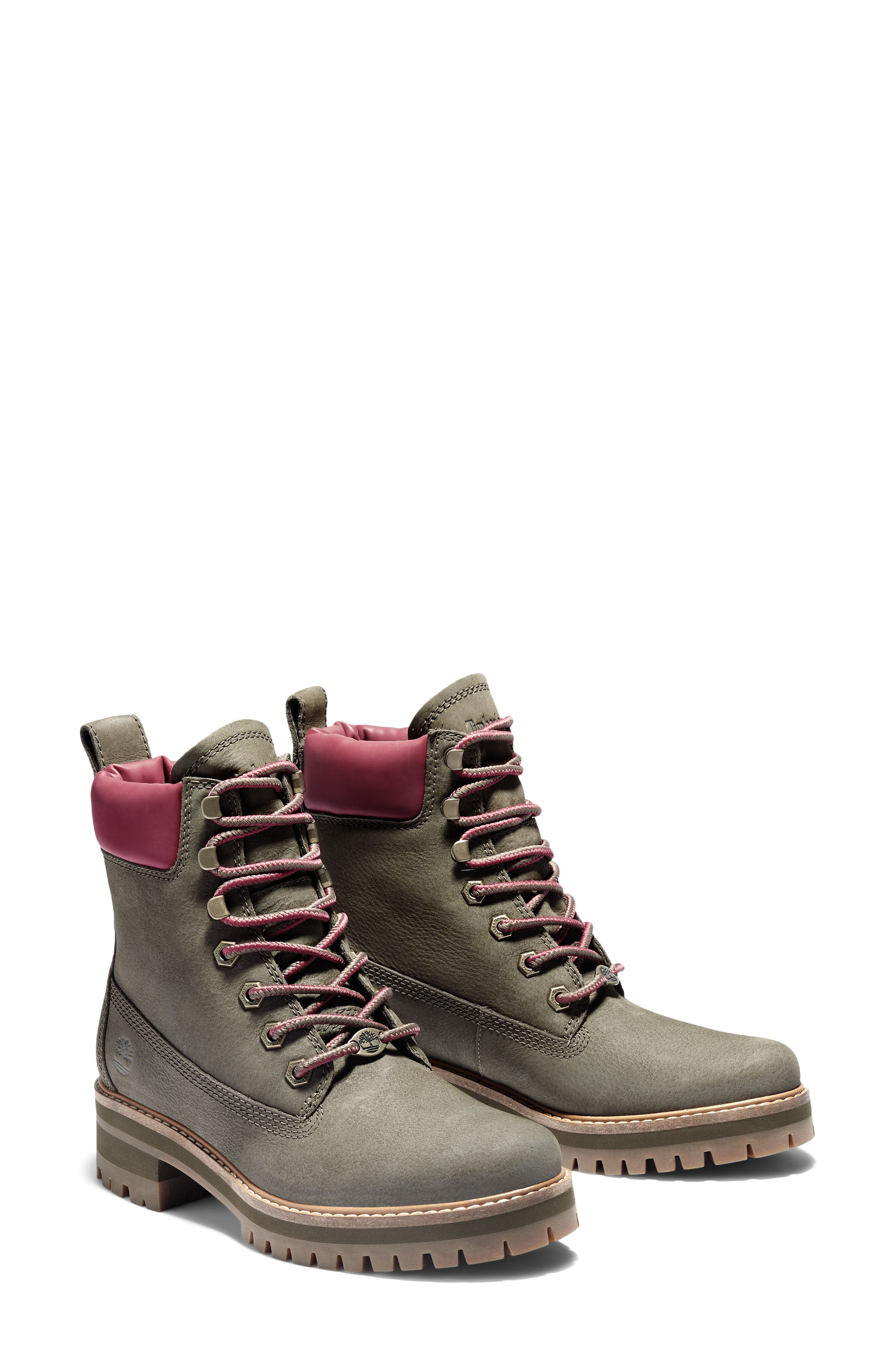 Image of Timberland Courmayeur Valley Leather Block Heel Lace-Up Boot