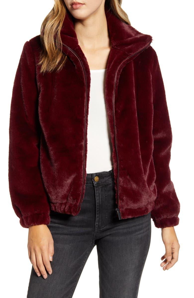 RACHEL PARCELL Faux Fur Bomber Jacket, Main, color, RED GRAPE