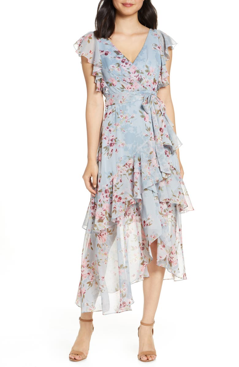 EVER NEW Floral Tiered Ruffle Faux Wrap Asymmetrical Dress, Main, color, TRAILING FLORAL
