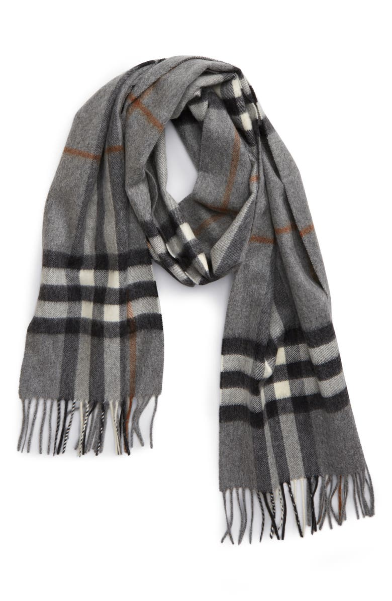 BURBERRY Giant Icon Check Cashmere Scarf, Main, color, GREY