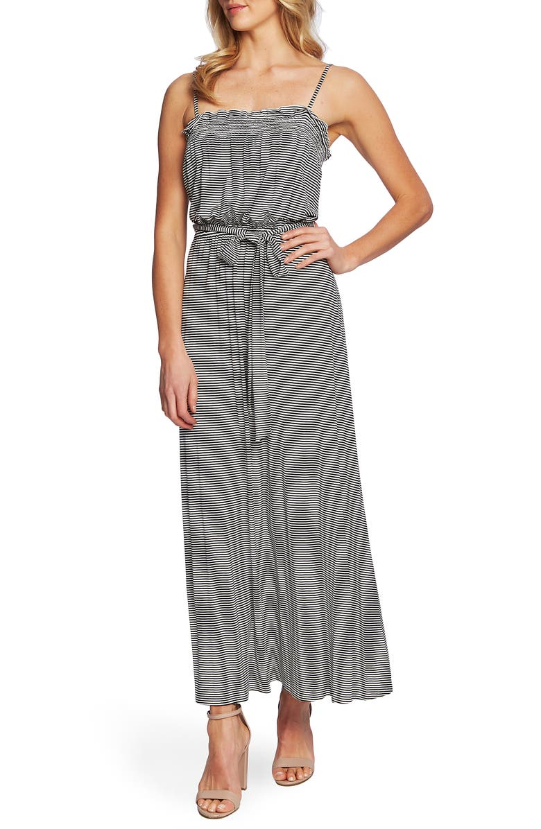 CECE Thin Stripe Sleeveless Maxi Dress, Main, color, 006