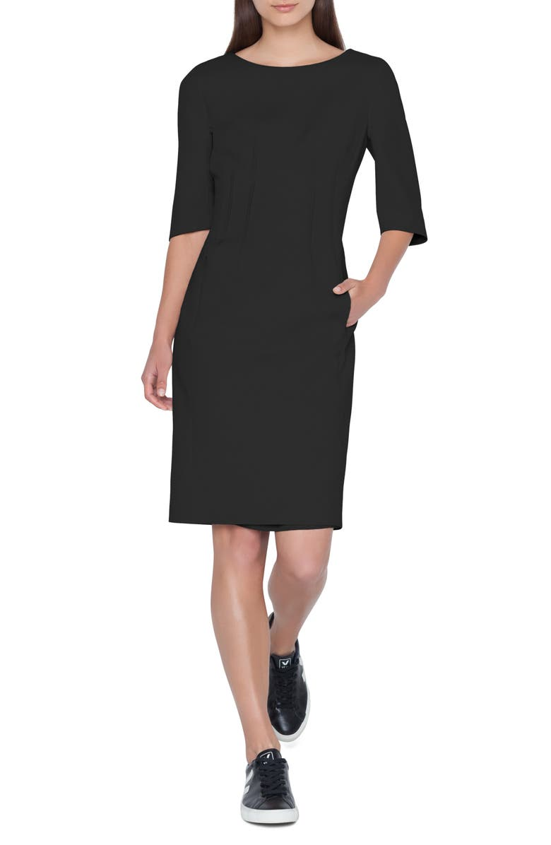 AKRIS Cotton Blend Dress, Main, color, 001
