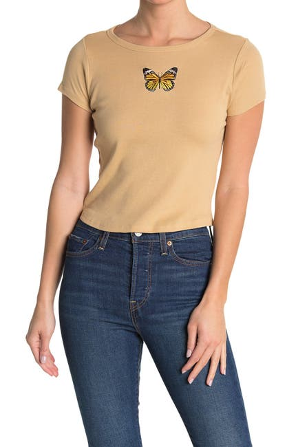Image of VINYL ICONS Embroidered Butterfly Crop T-Shirt