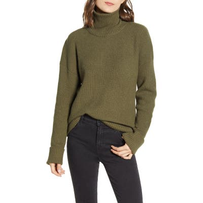 Chelsea 28 Ribbed Turtleneck Cotton & Wool Blend Sweater, Green