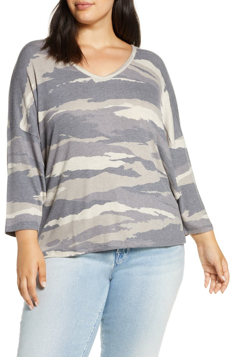 WIT & WISDOM Camo V-Neck Top, Main, color, MOCHA