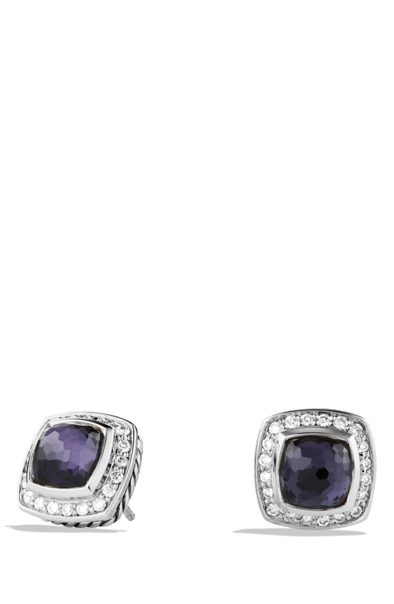 DAVID YURMAN 'Albion' Petite Earrings with Semiprecious Stones & Diamonds, Main, color, BLACK ORCHID