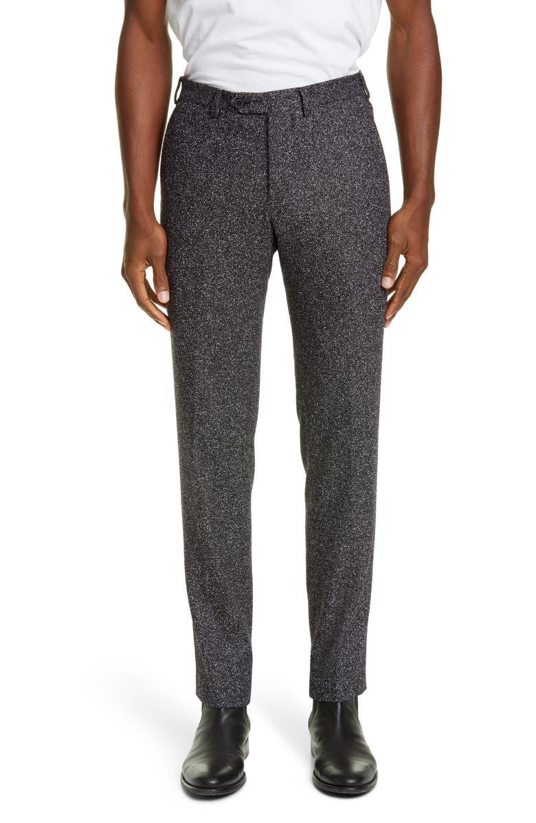 EIDOS Flat Front Mélange Trousers, Main, color, 001