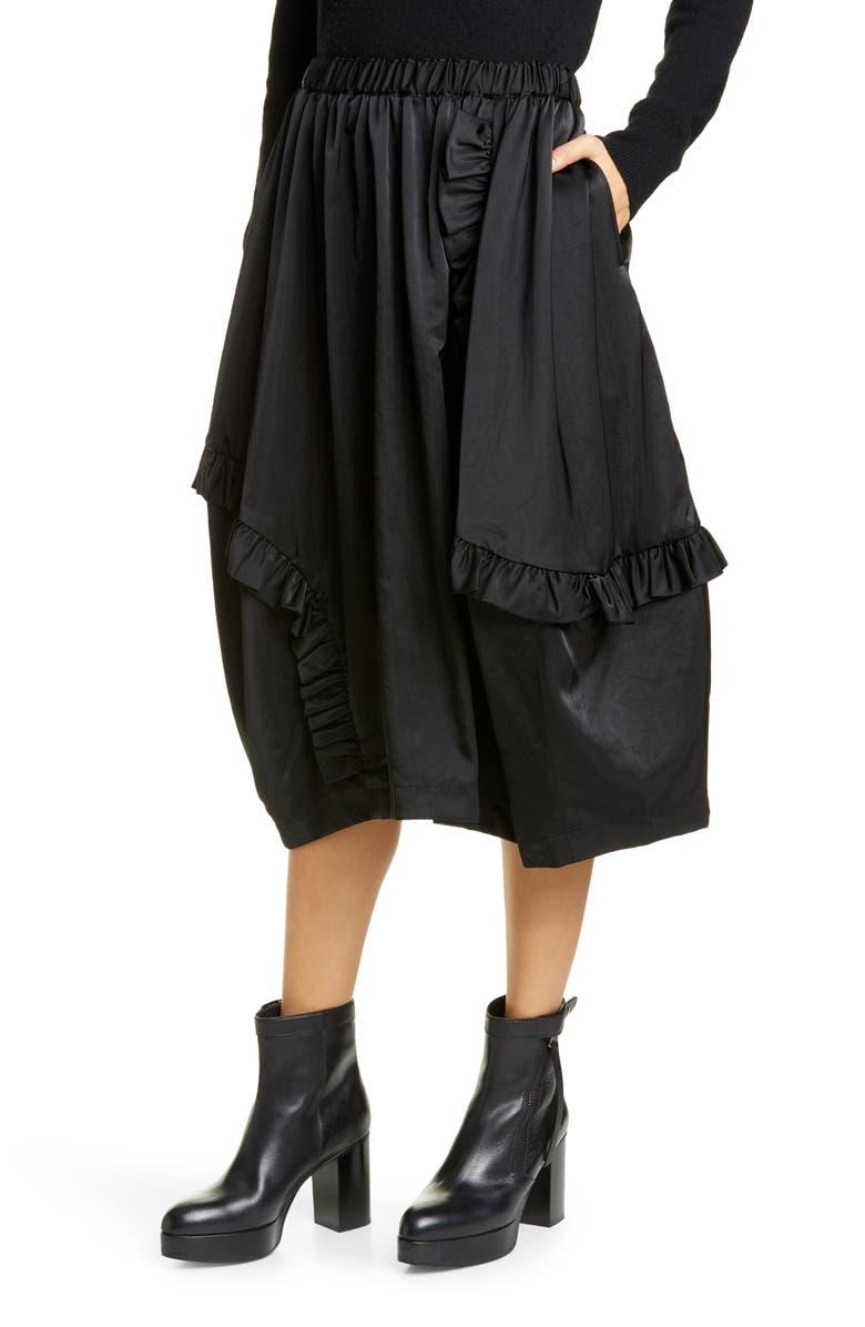 COMME DES GARÇONS Ruffle Drawstring Nylon Midi Skirt, Main, color, 001