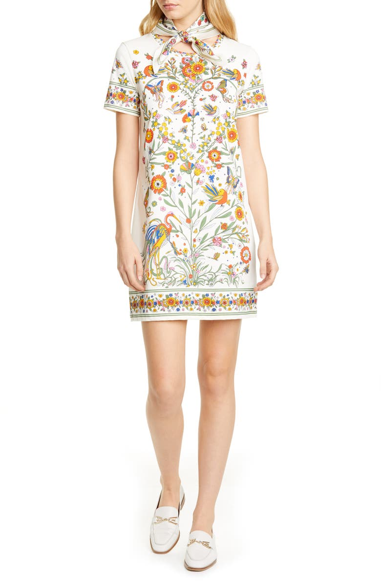 TORY BURCH Printer Scarf T-Shirt Dress, Main, color, NEW IVORY PROMISED LAND