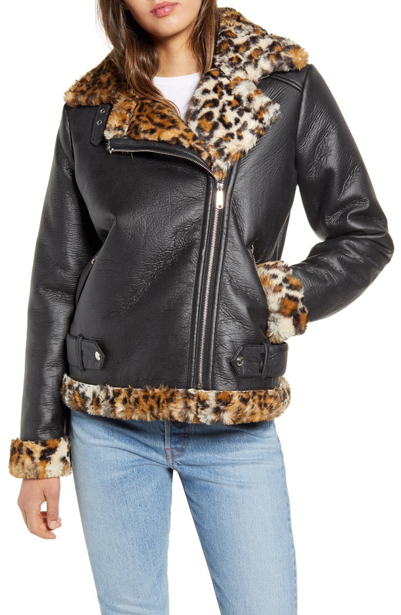 SAM EDELMAN Oversize Faux Shearling Moto Jacket, Main, color, BLACK/ LEOPARD