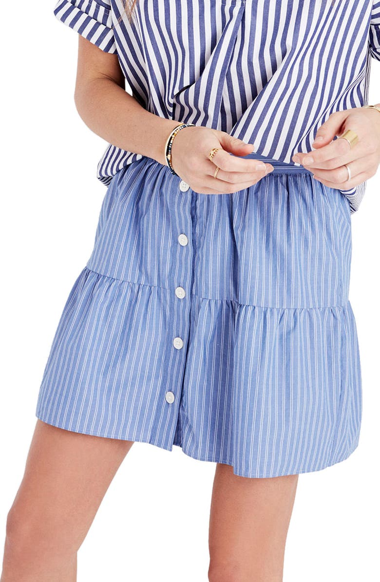 MADEWELL Bistro Stripe Skirt, Main, color, 400