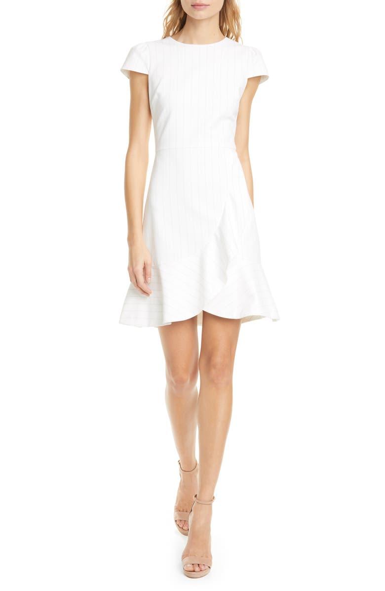 ALICE + OLIVIA Kirby Riffle Pinstripe Dress, Main, color, WHITE/ BLACK