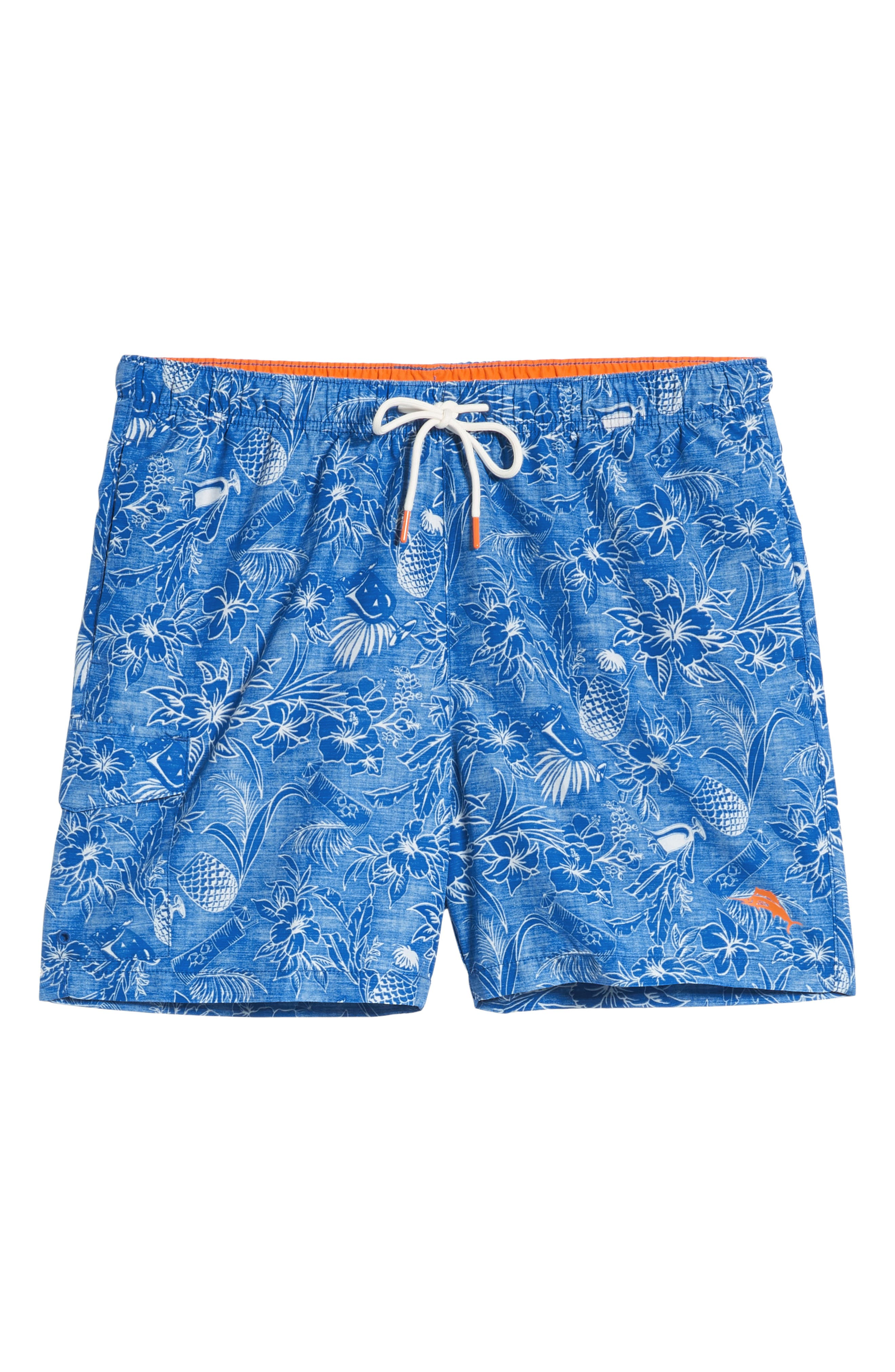 ,                             Naples Tiki Luau Print Swim Trunks,                             Alternate thumbnail 6, color,                             MADRAS BLUE