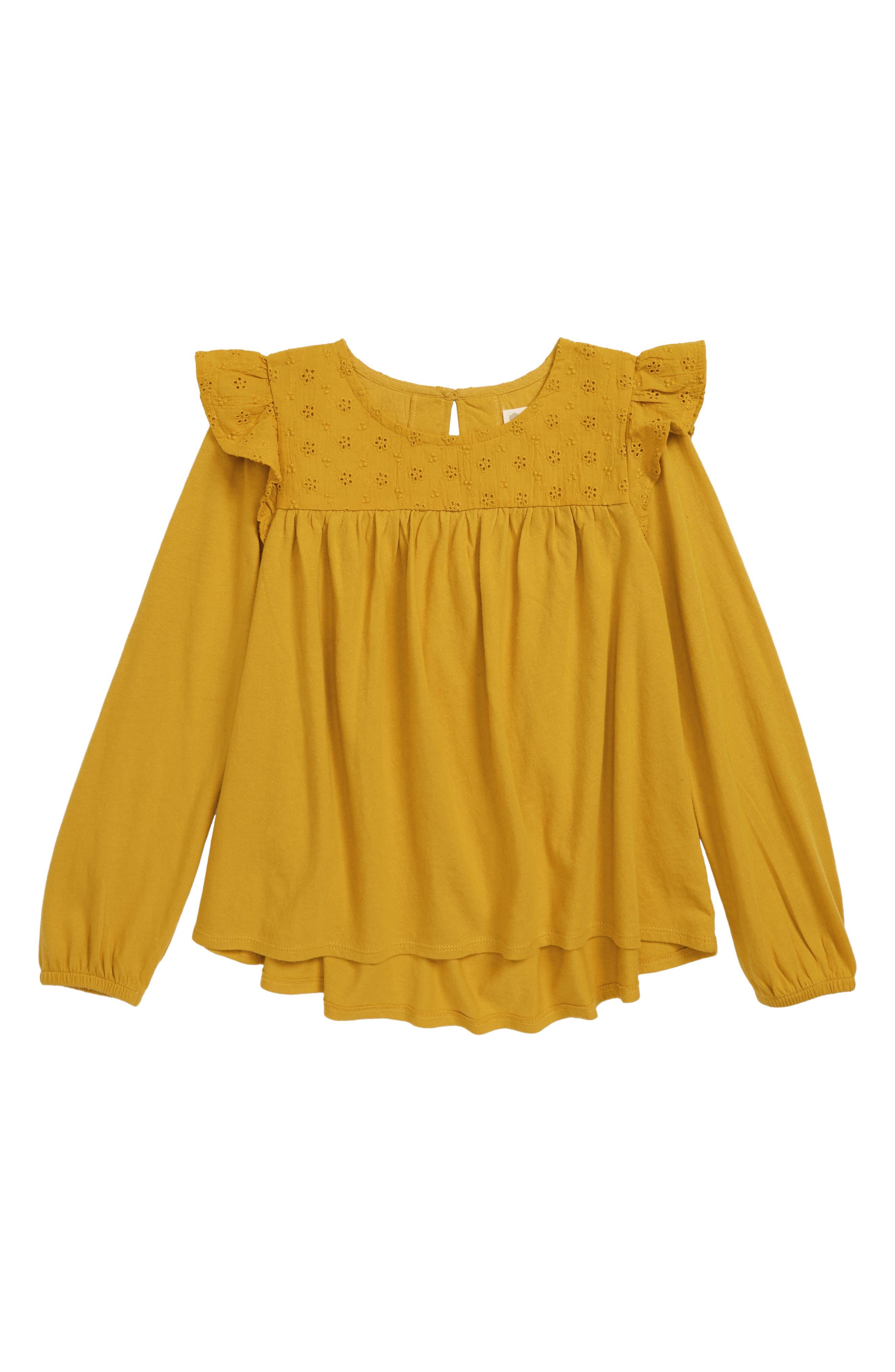 Girls Tucker  Tate Eyelet Flutter Sleeve Swing Top Size 8  Yellow