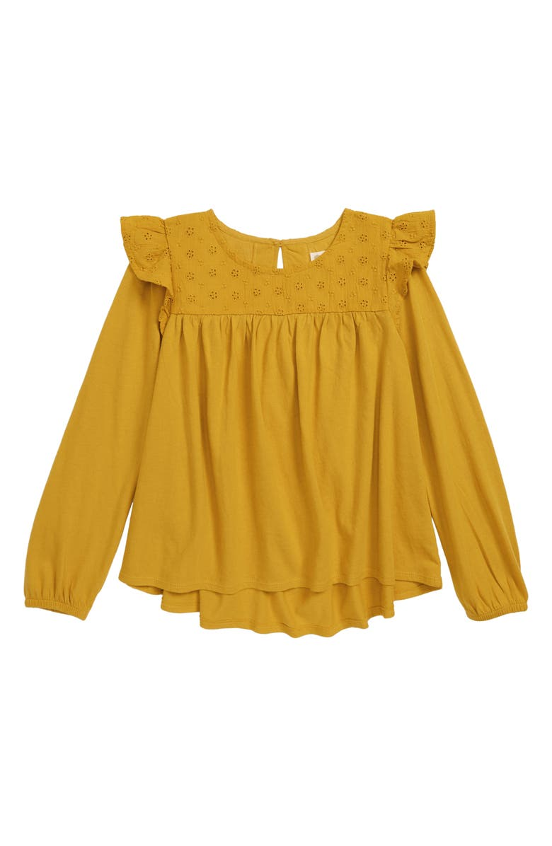 TUCKER + TATE Eyelet Flutter Sleeve Swing Top, Main, color, YELLOW NUGGET