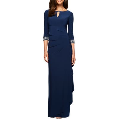 Petite Alex Evenings Embellished Side Ruched Gown, Blue