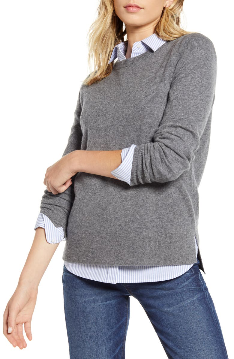 HALOGEN<SUP>®</SUP> Crewneck Cashmere Sweater, Main, color, GREY DARK HEATHER