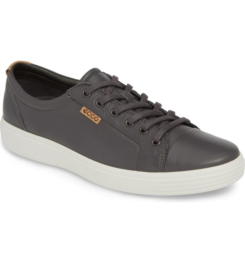 ECCO Soft VII Lace-Up Sneaker, Main, color, GREY DRAGO
