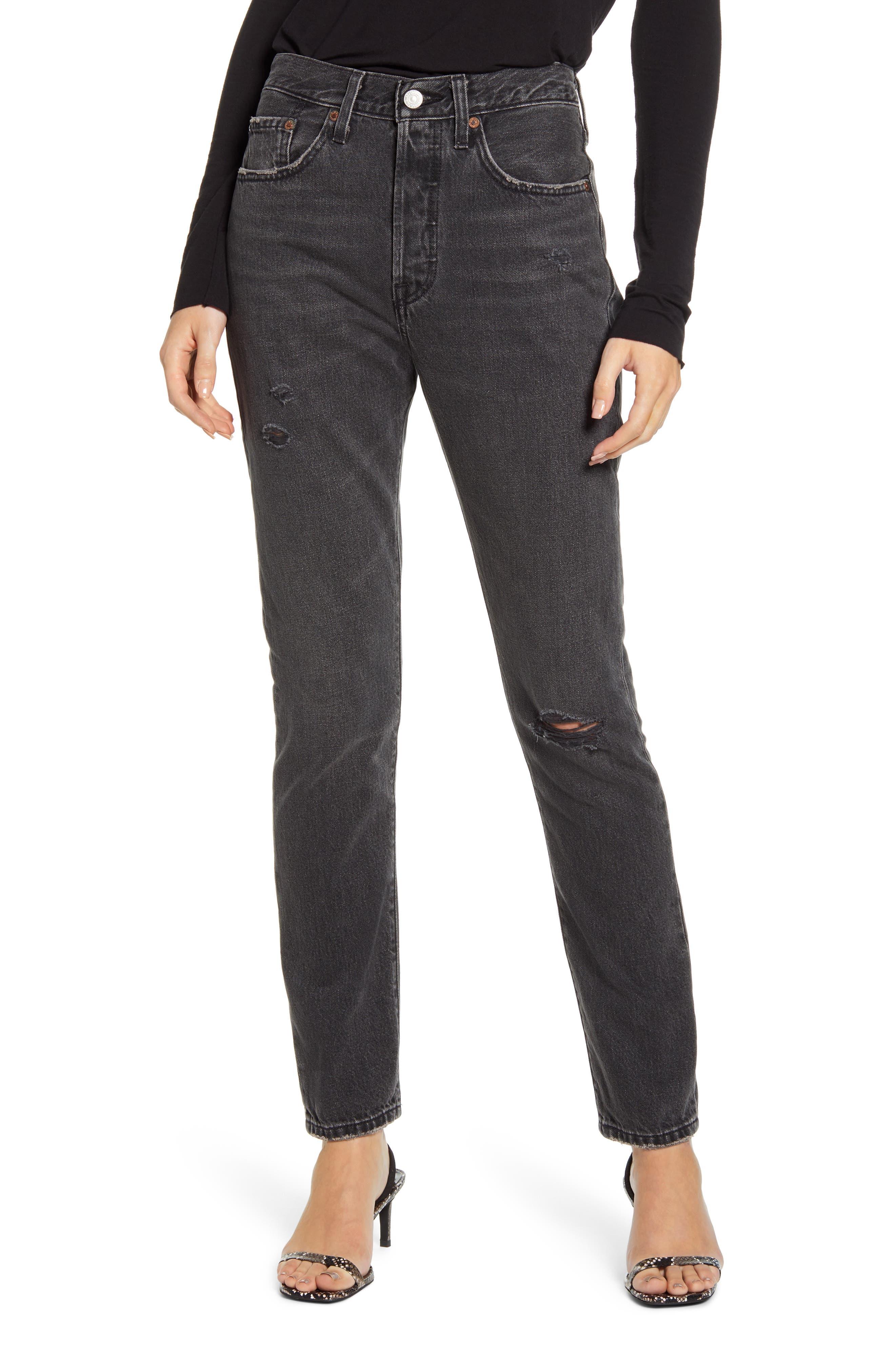 Women's Levi's 501 High Waist Ripped Skinny Jeans,  23 x 28 - Black