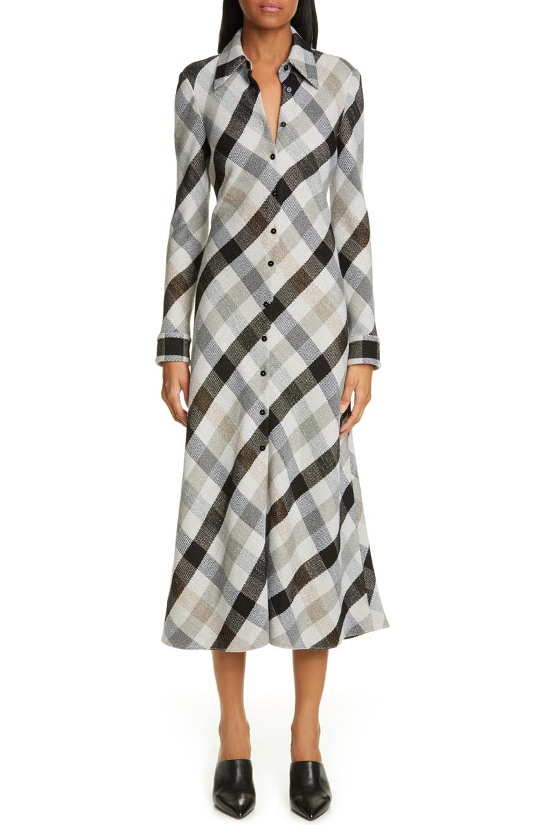 ROSETTA GETTY Plaid Long Sleeve Mouline Midi Shirtdress, Main, color, 900