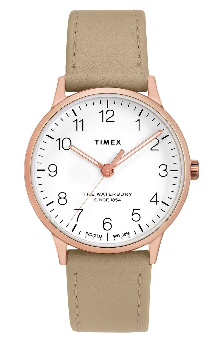 TIMEX<SUP>®</SUP> Waterbury Leather Strap Watch, 36mm, Main, color, BEIGE/ WHITE/ ROSE GOLD