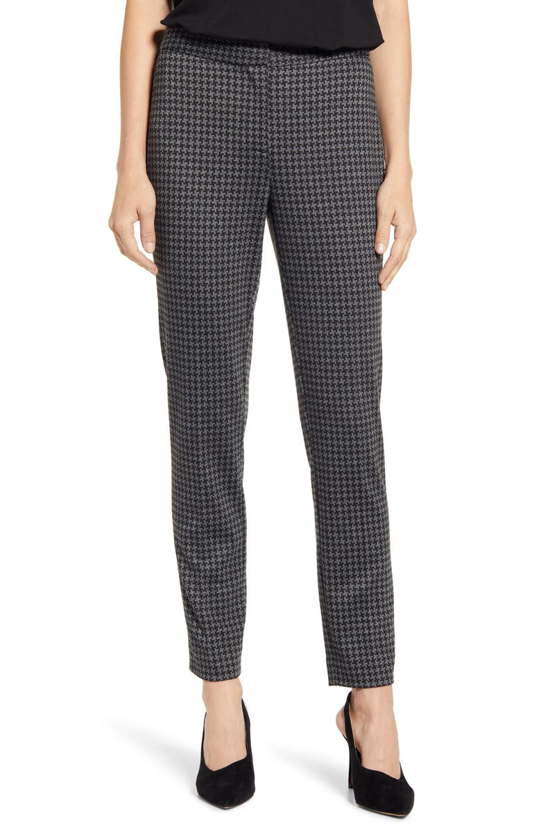 VINCE CAMUTO Houndstooth Check Ankle Skinny Ponte Pants, Main, color, RICH BLACK