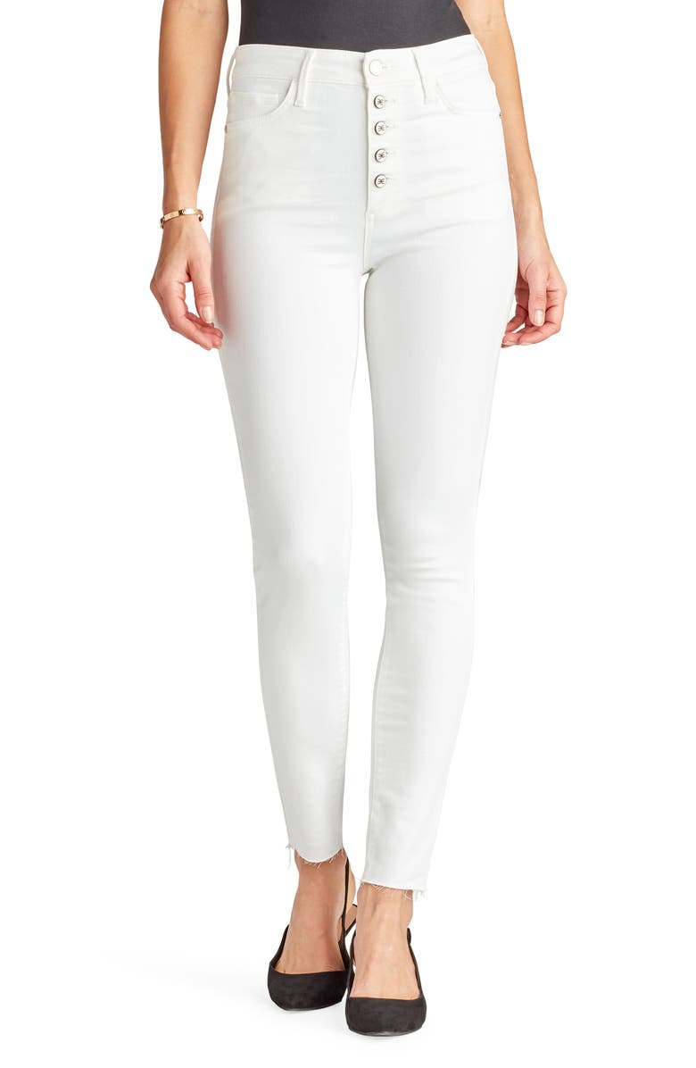 SAM EDELMAN The Stiletto High Waist Button Fly Raw Hem Ankle Skinny Jeans, Main, color, 101