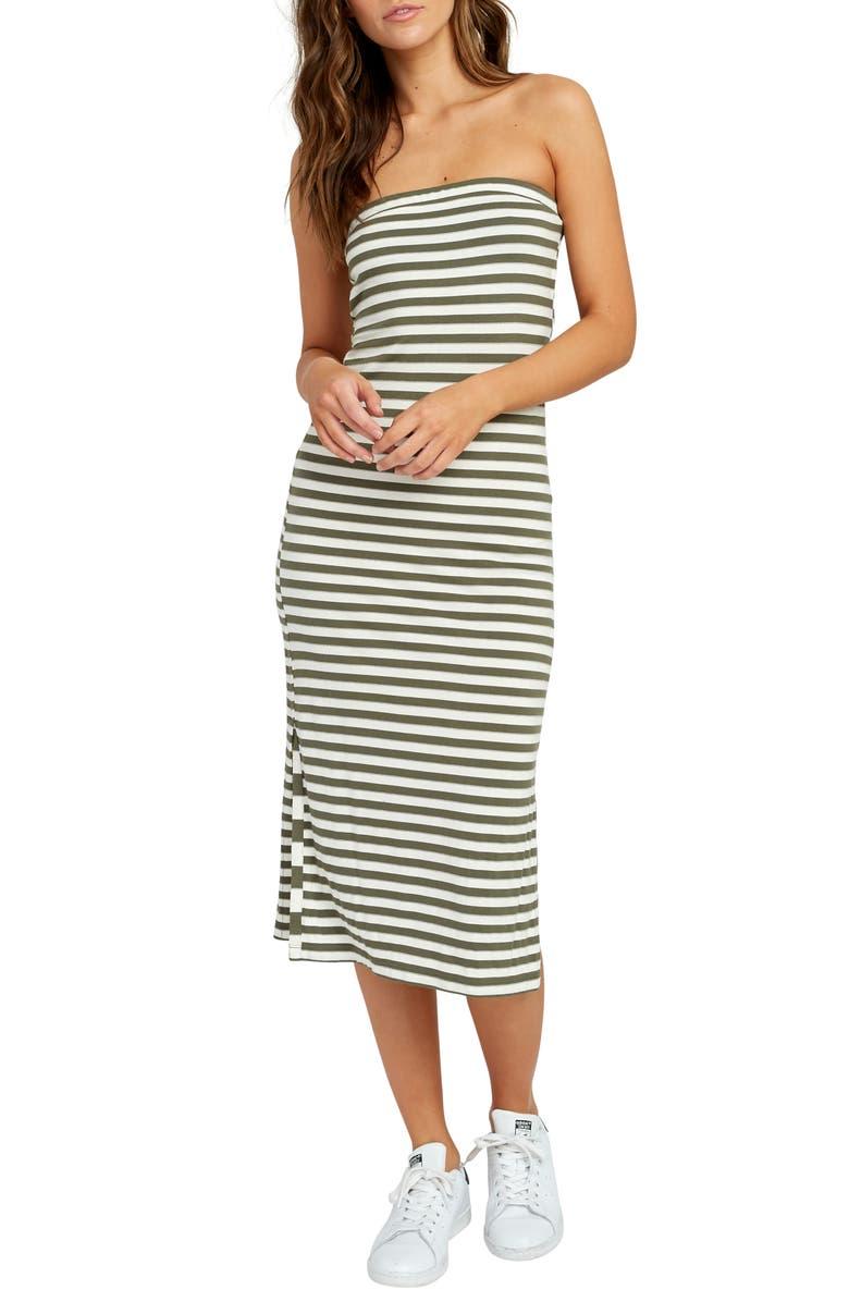RVCA Raincheck Strapless Body-Con Midi Dress, Main, color, 300