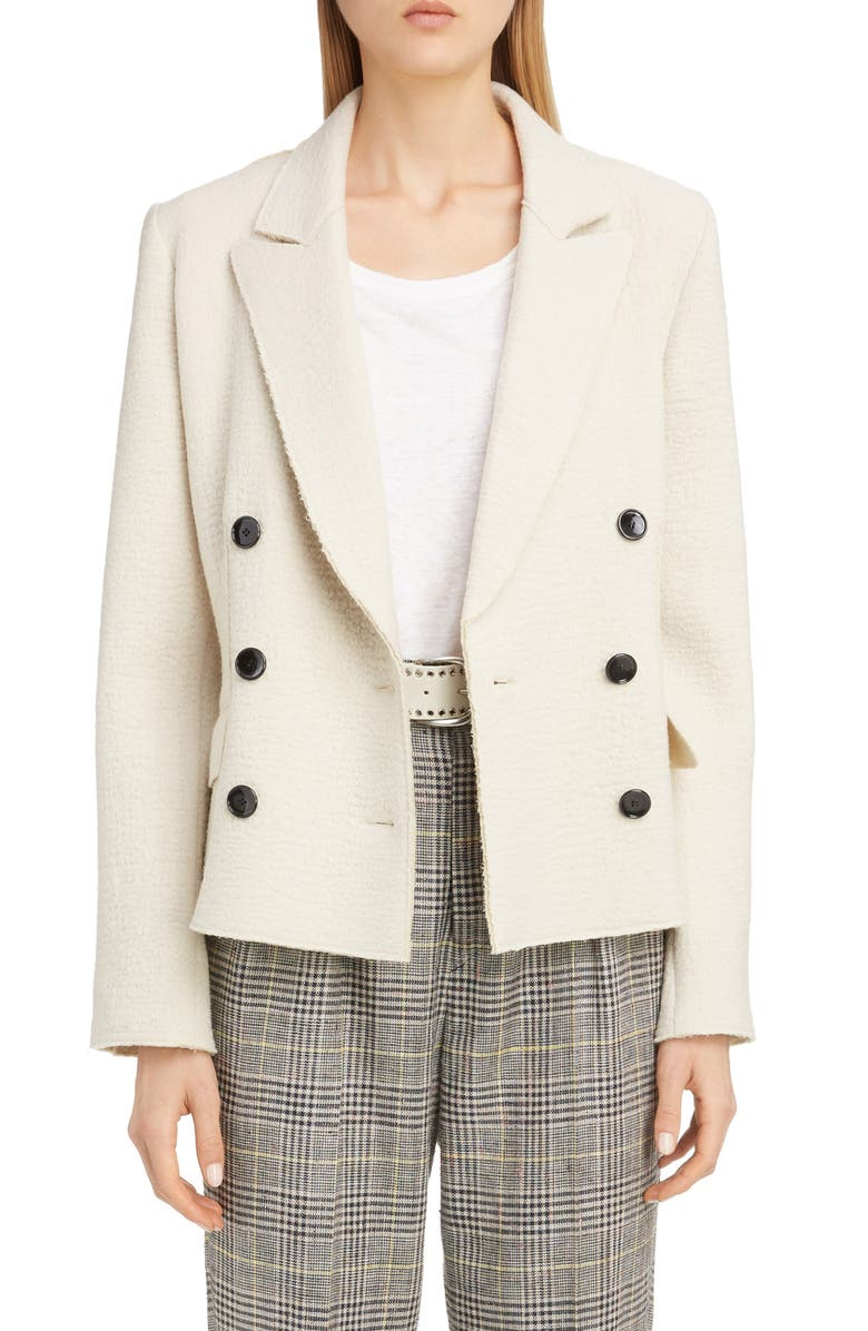 ISABEL MARANT Double Breasted Bouclé Wool Jacket, Main, color, ECRU