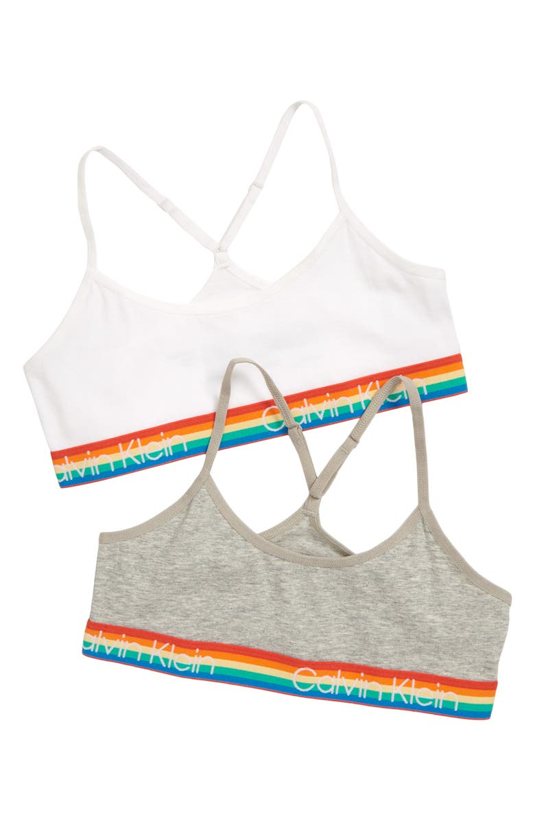 CALVIN KLEIN Assorted 2-Pack Logo Racerback Bralettes, Main, color, HEATHER/ WHITE RAINBOW