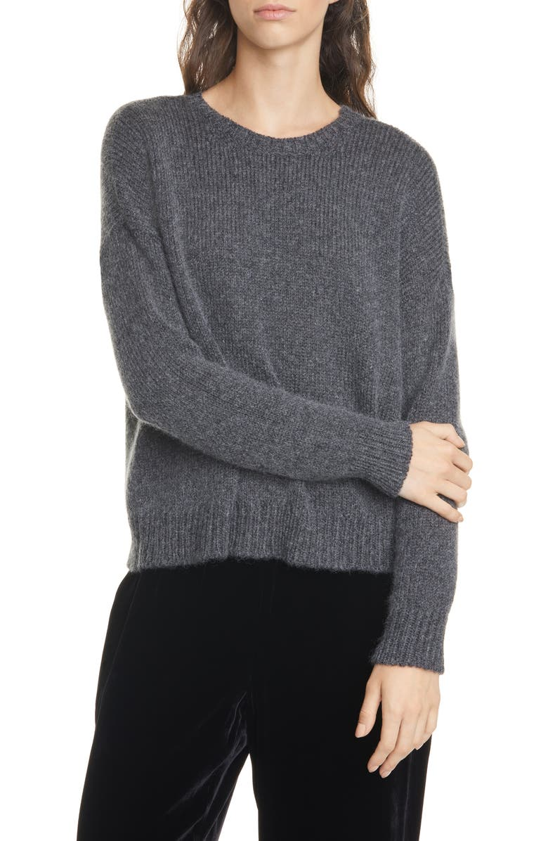 EILEEN FISHER Wool & Mohair Blend Crewneck Sweater, Main, color, CHARCOAL