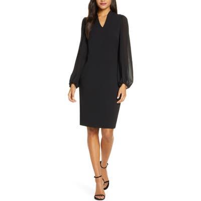 Vince Camuto Kors Crepe & Chiffon Long Sleeve Dress, Black